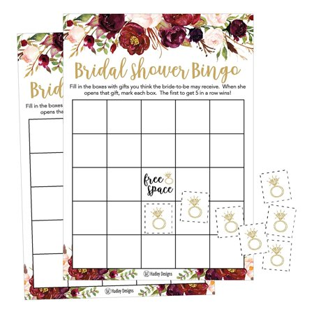 25 Pink Flower Bingo Game Cards For Bridal Wedding Shower and Bachelorette Party, Bulk Blank Squares To Fill In Gift Ideas, Funny Supplies For Bride and Couple PLUS 25 Wedding Ring Bingo Chip Markers - Bridal Party Gift Ideas