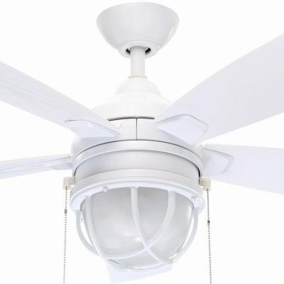 Hampton bay seaport 52 in indoor outdoor white ceiling fan