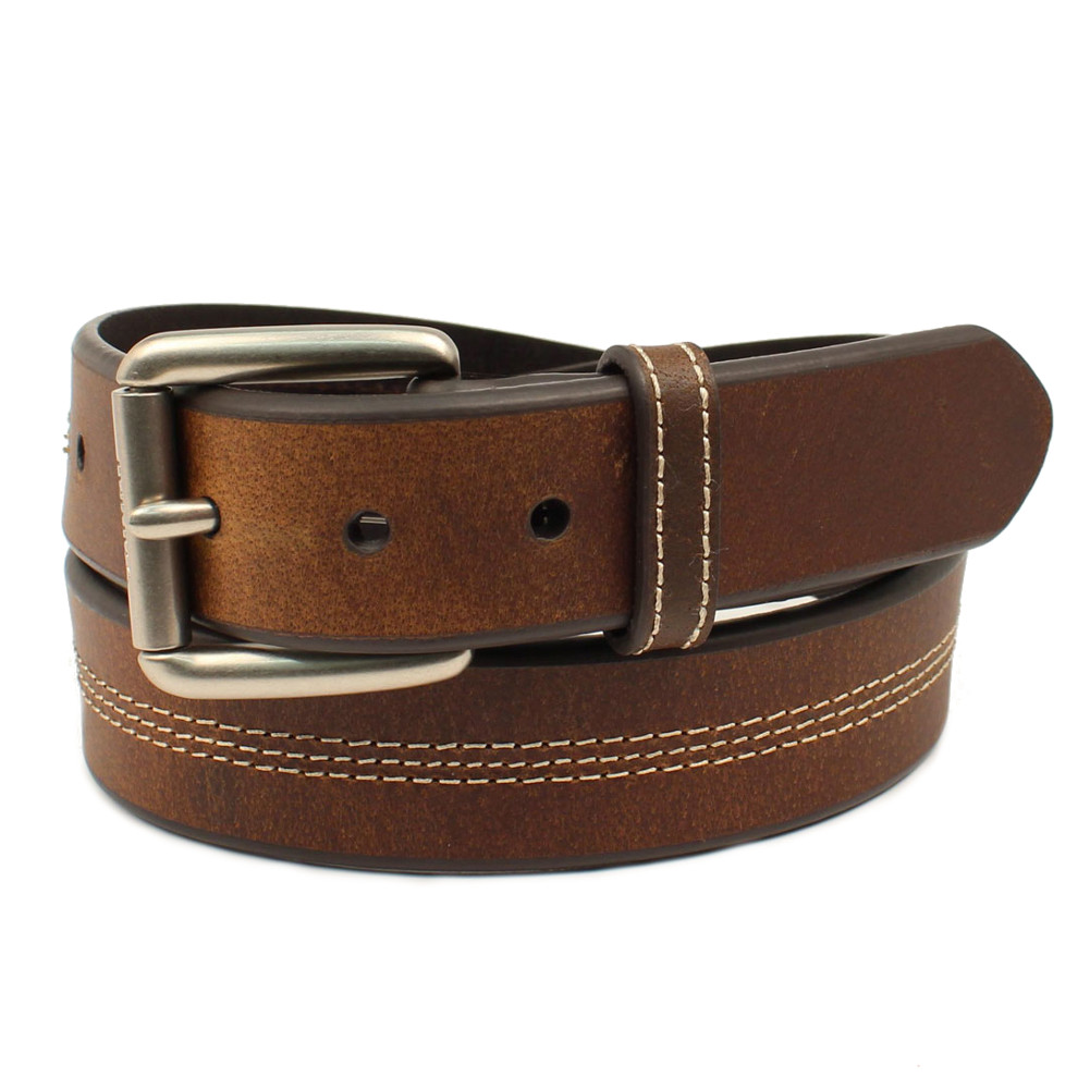 Ariat Men/'s Work Triple Stitch Dark Copper Leather Belt