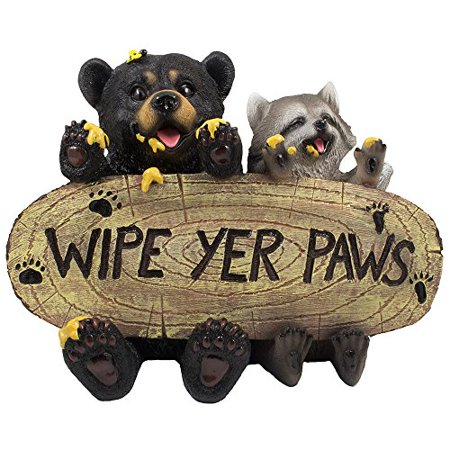 Patio Gift - Black Bear and Raccoon Faux Wood Welcome Sign Statue with Reminder to Wipe Your Feet in Outdoor Garden Decor Sculptures & Yard Art for Front Porch, Patio or Deck As Rustic Housewarming Gifts