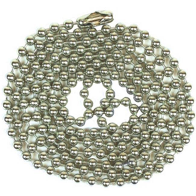 Jandorf Specialty Hardw 94991 No.  6 Beaded Chain With Connector - Nickel Plated, 3 ft.