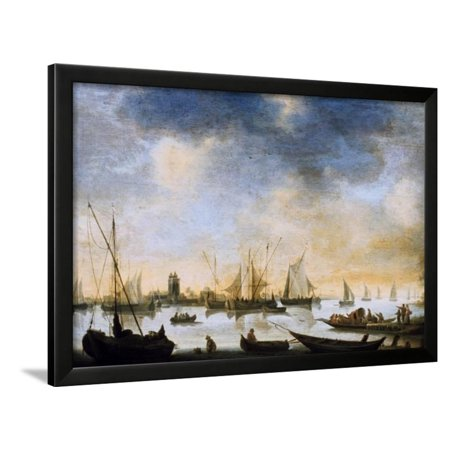 17th Century Framed Print - River View, 17th Century Framed Print Wall Art By Jan Van Goyen