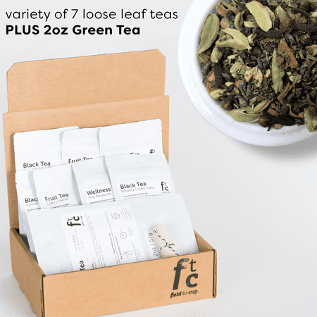 Field to Cup Tea Discovery Box Plus - 8 high quality loose leaf teas - 60+ cups (3.5oz) - Green Tea