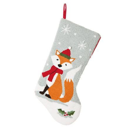 glitzhome 19 inch handmade hooked fox christmas stocking - Christmas Stockings Walmart