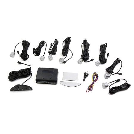 Auto Parking Sensor - 8 Parking Sensors LED Car Auto Reverse Buzzer Sound Alarm Backup Kit Silver Tone