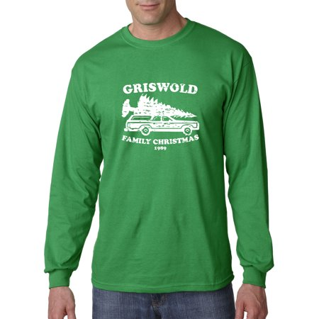 Christmas T Shirts With Lights (New Way 1132 - Unisex Long-Sleeve T-Shirt Griswold Family Christmas 1989 Small Kelly)