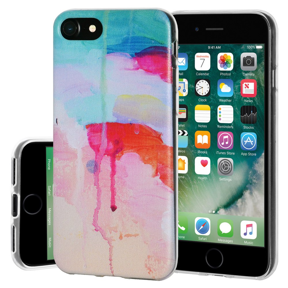 Premium Soft Gel Clear TPU Graphic Skin Case Cover for Apple iPhone 7 - Abstract Watercolor Drip