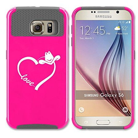 Samsung Galaxy S6 Edge Shockproof Impact Hard Case Cover Love Heart Country Cowgirl (Hot Pink-Grey ),MIP