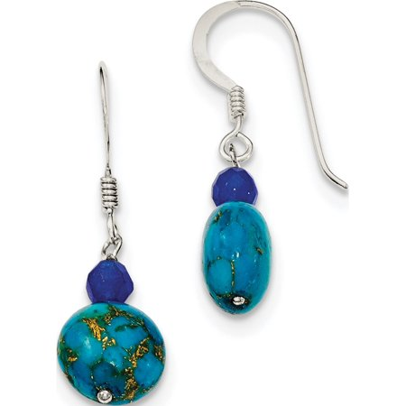 925 Sterling Silver Blue Agate, and Lapis Reconstructed Stone (10x30mm) Earrings - image 1 of 2