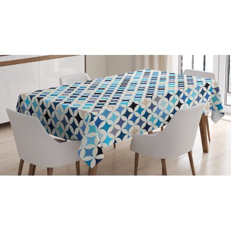 Tone Geometric Circles - Modern Decor Tablecloth, Geometric Circles with Half Round Like Square Blue Tones Mix Image Backdrop , Rectangular Table Cover for Dining Room Kitchen, 60 X 84 Inches, Multicolor, by Ambesonne