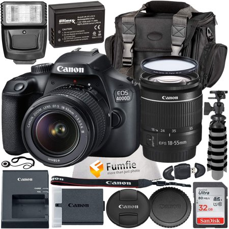 Canon EOS 4000D with EF-S 18-55mm f/3.5-5.6 III Lens & Professional Accessory Bundle - Includes: Spare LPE10 Battery, Slave Flash, Large Gadget Bag with Dual Buckles & Much More