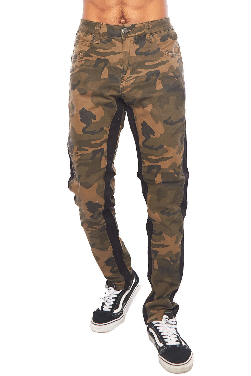 Mens Hipster Side Stripe Camouflage Slim Fit Pants DL1167-30-Camo/White