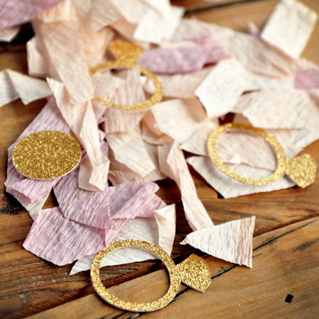 Spring Confetti (Mini Gold Ring Confetti Mix. Ring Confetti with Ombre Crepe. Spring Bridal Shower)