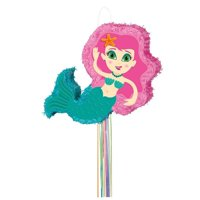Mermaid Pinata, Pull String, Pink & Teal, 22in x 15in