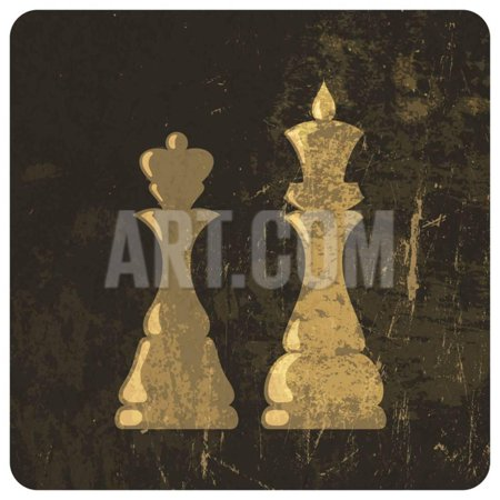 Grunge Illustration Of King And Queen Chess Figures Print Wall Art By pashabo