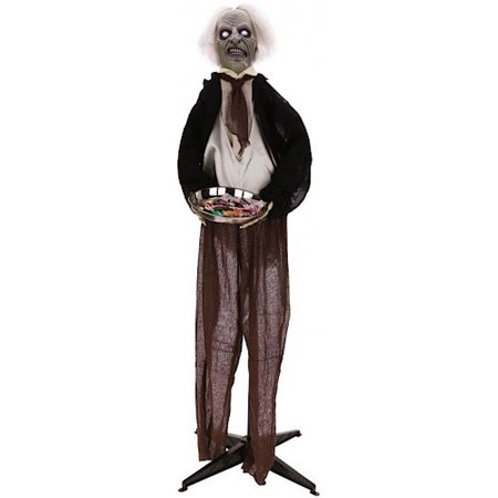 Halloween Decor Animated Butler w Candy Tray 5ft 66-51166 (Animated Halloween Butler Tray)