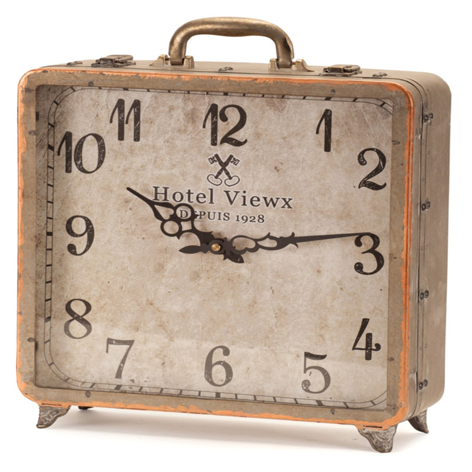 Melrose International Suitcase Table Clock by Melrose