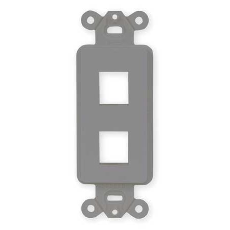 HUBBELL PREMISE WIRING ISF2GY Outlet Frame,2 Port,Flush Mount,Gray ()