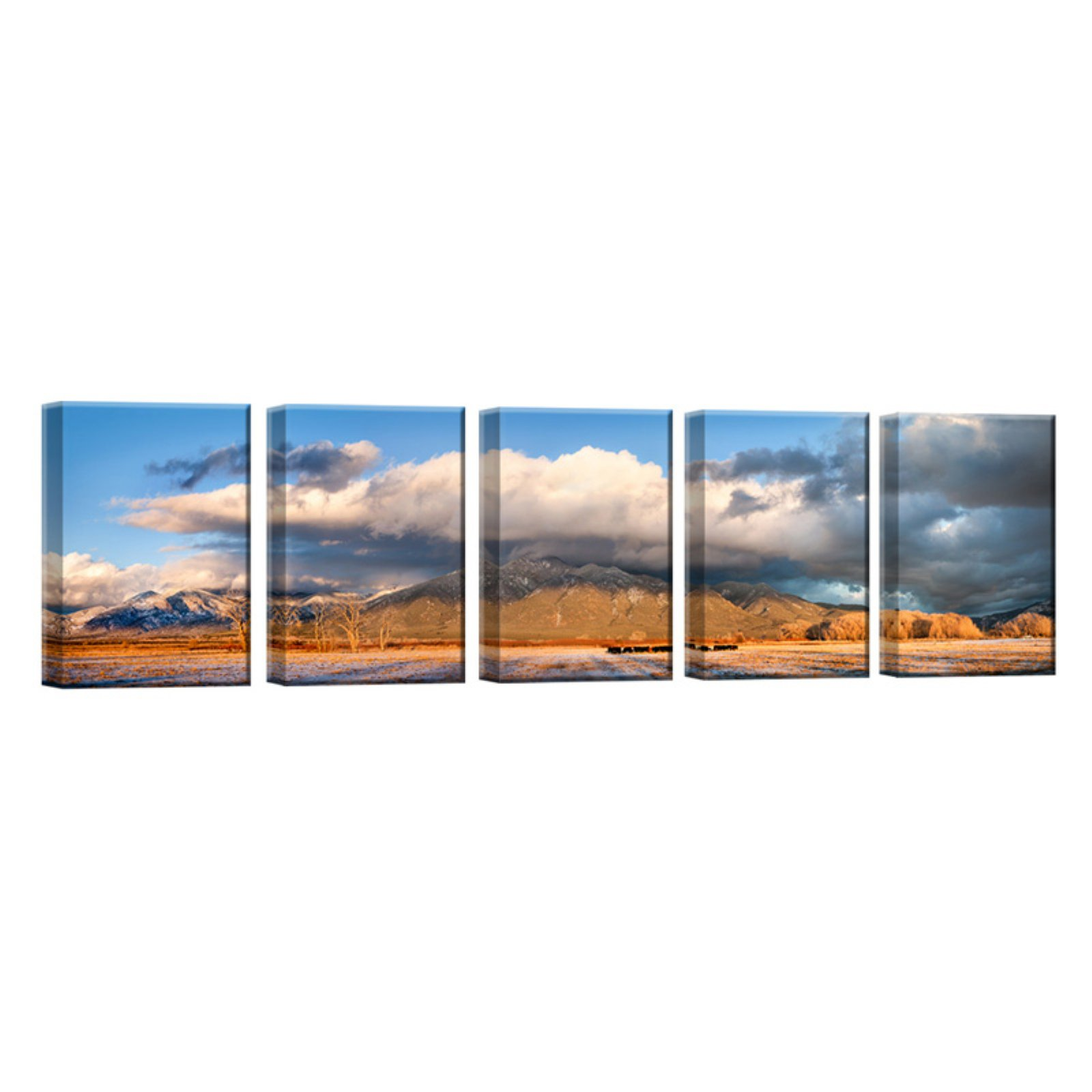 Ready2HangArt Cattle Sunset Wrapped Canvas Wall Art - Set of 5