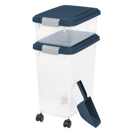 IRIS 3-Piece Airtight Pet Food Container Combo, Navy Blue
