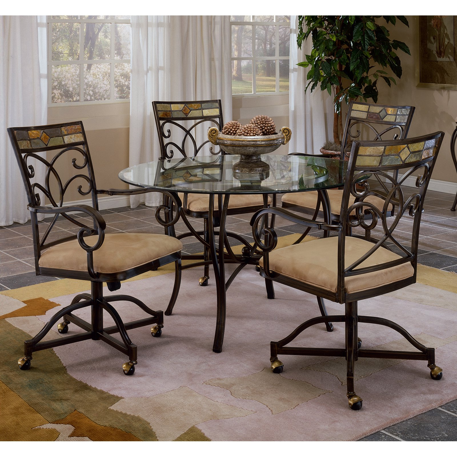 Hillsdale Pompei 5 Piece Dining Set With Glass Top U0026amp; Castered Chairs Black  Gold/Slate Mosaic   Walmart.com