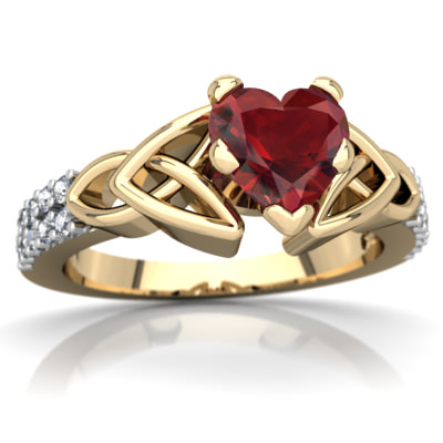 Garnet Celtic Knot Engagement Ring in 14K Yellow Gold by