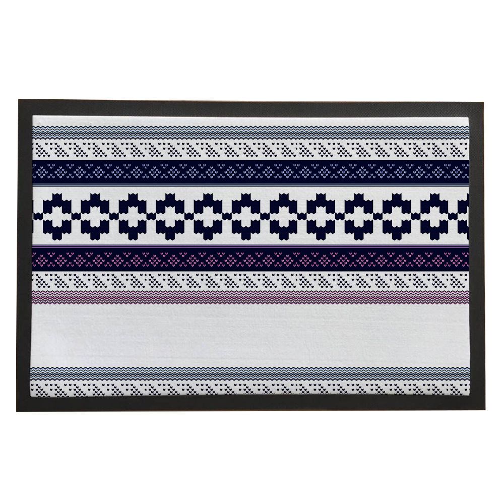 """White Norwegian Floral Square Tiny Block Triangle Entrance Rubber Welcome Home Decoration Doormat Multi-Size Indoor Mat 16""""/20""""/24""""*24""""/32""""/36"""""""