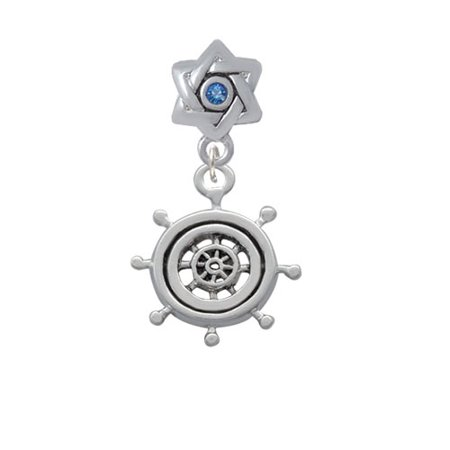 Antiqued Ship Wheel   Star Of David With Blue Crystal Charm Bead
