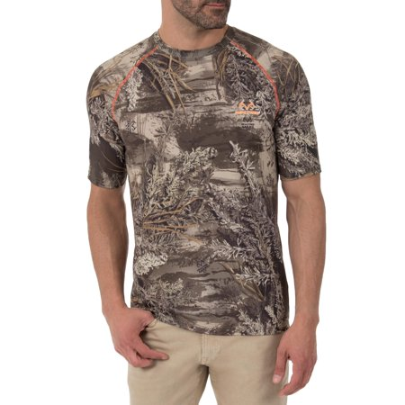 Men's Camo Insect Repellent Flex Performance Short Sleeve Tee Shirt (Hunting Gear For Men Real Tree)