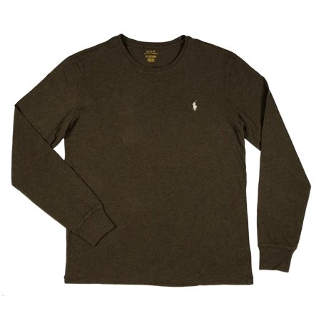 Ralph Lauren Polo Top (Ralph Lauren Polo Mens Long Sleeve Classic Pony Logo Shirt Black/Blue/Brown/Gree (Brown Heather,S) )