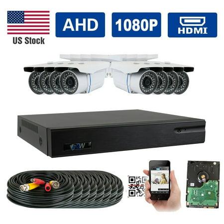 (GW Security AHD 8CH 1080P DVR Video Surveillance Camera System 8 1080P 2.1 Megapixel Outdoor 34 IR LEDs 100ft Weatherproof Night Vision Bullet Security Camera)