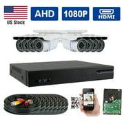 GW Security AHD 8CH 1080P DVR Video Surveillance Camera System 8 1080P 2.1 Megapixel Outdoor 34 IR LEDs 100ft Weatherproof Night Vision Bullet Security Camera