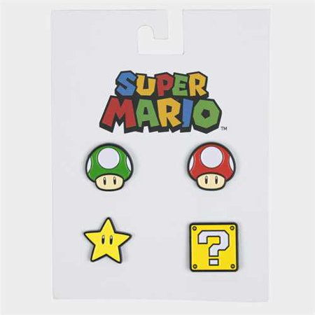 BioWorld Mario Brothers 4-pin Set (GreenMush, RedMush, Star, Block)