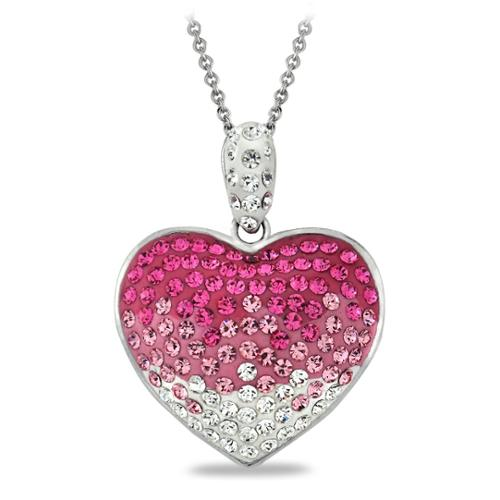 Silver Tone Fuchsia Ombre Crystal Heart Necklace with Swarovski Elements