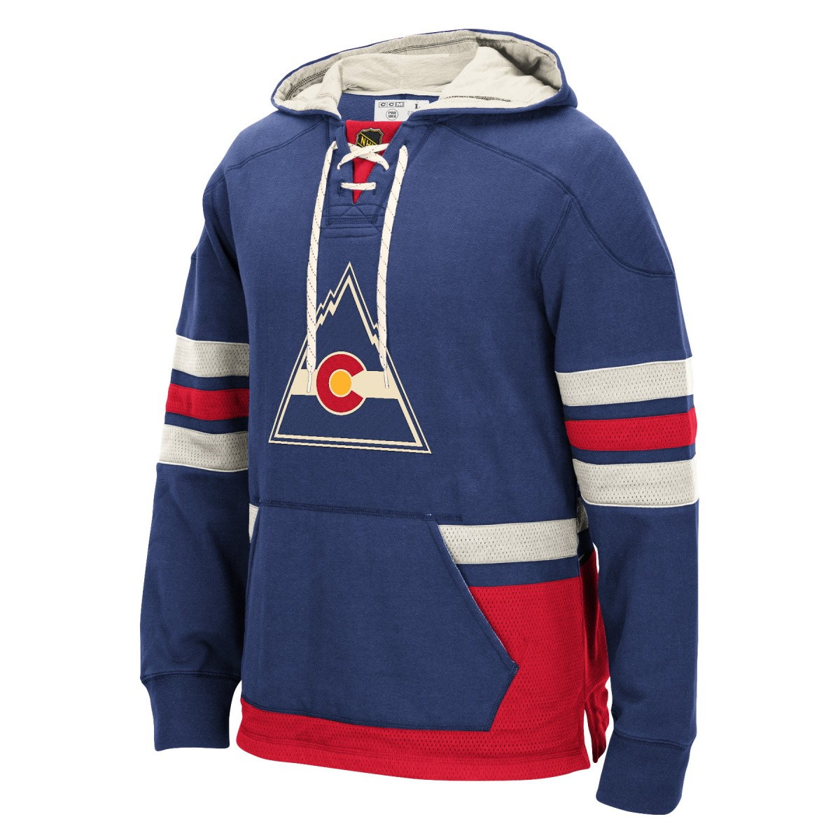 "Colorado Rockies Men's NHL CCM ""Lace Em Up"" Pullover Hooded Sweatshirt - Blue"