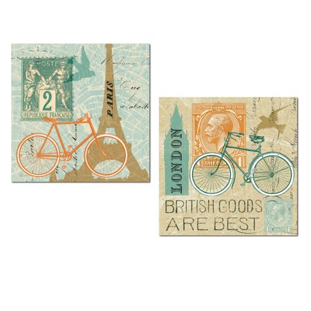 Lovely Paris and London Landmarks Eiffel Tower and Big Ben Bicycle Collage Set by Sue Schlabach; Two 12x12in Unframed Paper Posters ()