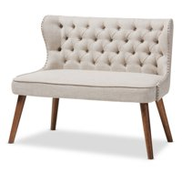 Baxton Studio Scarlett Mid-Century Modern Brown Wood and Light Beige Fabric Upholstered Button-Tufting with Nail Heads Trim 2-Seater Loveseat Settee