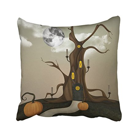 Halloween Fantasy Art (WinHome Decorative Pillowcases Elvish Tree Halloween Fantasy Art Throw Pillow Covers Cases Cushion Cover Case Sofa 18x18 Inches Two)