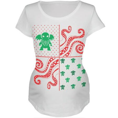 cthulhu lovecraft ugly christmas sweater white womens soft maternity t shirt walmartcom - Maternity Ugly Christmas Sweater