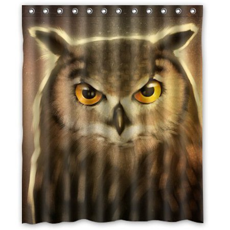 GreenDecor Birds Art Owls Animals Waterproof Shower Curtain Set with Hooks Bathroom Accessories Size 60x72 inches ()