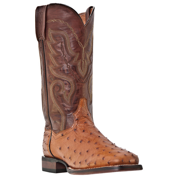Dan Post Chandler Cognac Full Quill Ostrich Western Cowboy Boot DP2982 by DAN POST