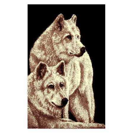 DonnieAnn AF2WOLF African Adventure 2 White Wolves Area Rug - Black