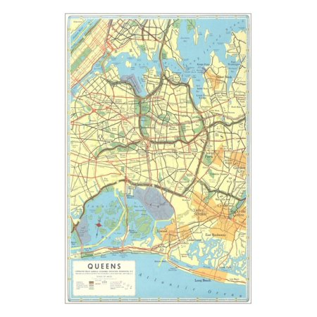 Map of Queens, New York Print Wall Art