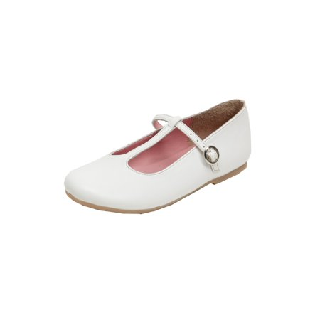 Pazitos Girls White T-Strap Buckle Closure Trendy Casual Flats - White Girls Flats
