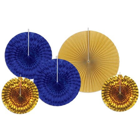 Blue and Golden Assorted Paper & Foil Hanging Decorative Fans (Gold Fangs)