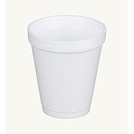 Dart 8J8, 8 Oz. White Foam Cup with White Lift'n'Lock Plastic Cup Lid, Customizable Disposable Hot and Cold Drink Beverage Tea Coffee Cups (100)