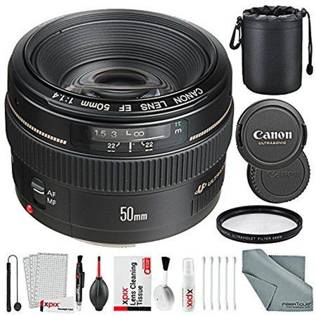 Canon EF 50mm f/1.4 USM Standard Lens for Canon SLR Cameras and Xpix Basic Accessory Bundle w/ Xpix Cleaning Kit Basic Accessory Kit
