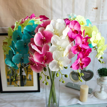 Obstce Artificial Butterfly Orchid Flower 1 Piece Wedding Home Decor Fake Cloth Flower