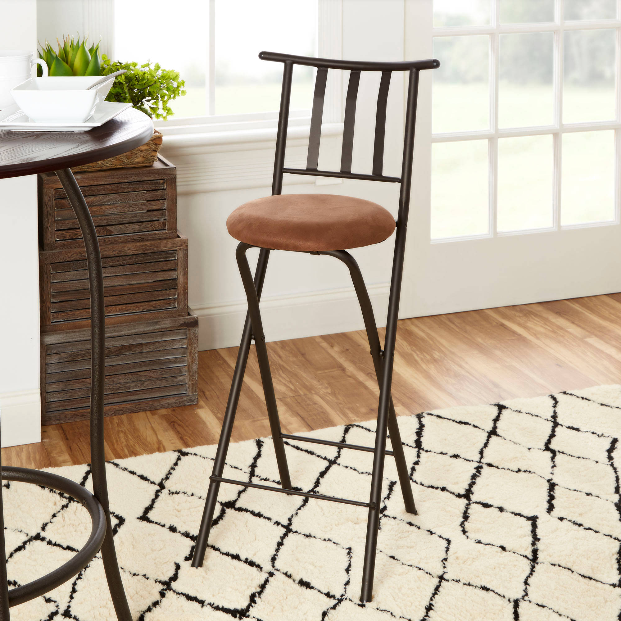 "Mainstays Slat Back Folding 30"" Bronze Barstool Multiple Colors"
