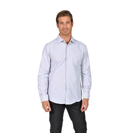 Mens long sleeve striped button down shirts grey for Mens grey button down dress shirt